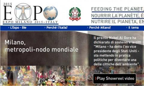 Uno screenshot dall'home page del sito Expo2015